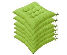 AGDLLYD Set di 6 Cuscini di Seduta Cuscino Sedia 40x40x5cm per Interno ed Esterno - Molti Colori - Imbottitura Spessa Cuscino Trapuntato/Cuscino per Pavimento (Verde)