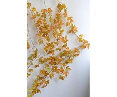 LY/WEY Artificiale della Vite del Foglio Fiore Rattan Foglie di Acero Fai da Te 2 Metri Falso Rattan Wedding Hotel Gazebo Decorazione Domestica Fiore di Seta di Vite (Color : Yellow)