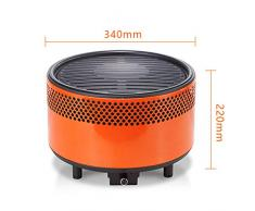 Barbecue a Carbone Senza Fumo, Portatile BBQ Lega Giardino Balcone Viaggio Campeggio ECC (340 * 220mm),Orange