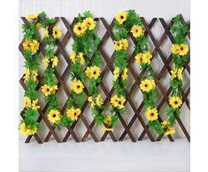 JHZHK fiori fiore Artificiale Giallo Girasole Ghirlanda Rattan Simulazione di seta Fiori matrimonio finto Arco Gazebo Decor Vines