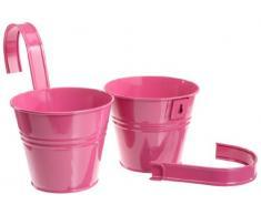 Siena Garden 722598 Set 2 vasi con supporto incluso, colore: Rosa