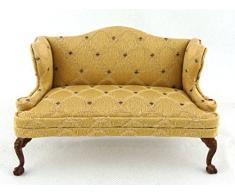 Casa delle bambole in miniatura, per mobili da giardino in platino Loveseat-divano in legno di noce, colore: oro