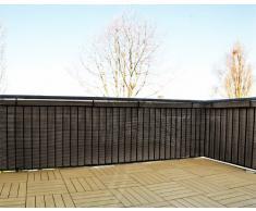 Gartenfreude Schermo da giardino in polyrattan, balcone o steccato, tagliabile, incl. portacavi, marrone bicolor, 5 x 0,75 m