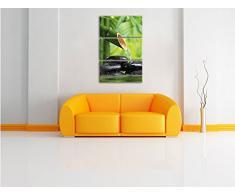 fontana di bambù pietre 3 pezzi immagine immagine tela 120x80 su tela con, XXL enormi immagini completamente Pagina con la barella, stampe d'arte sul murale cornice gänstiger come la pittura o un dipinto ad olio, non un manifesto o un baner