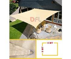 Keyman Vela Ombreggiante Quadra Quadrata 5 x 5 mt Beige Sabbia Telo Ombra Quadrato