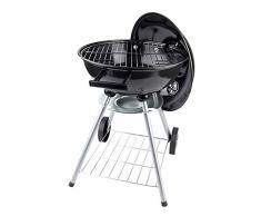 Esclusivo BBQ in acciaio con coperchio con 3 regolazioni del calore - 43 cm - barbecue con ruote per spostarlo comodamente - barbeque con coperchio ventilato con sistema di tiraggio dell'aria
