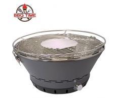BBQ Time! L'originale barbecue a carbone senza fumo! L'unico con il sistema brevettato di ricircolo dell'aria! Grill rotondo griglia da tavolo fornetto ventilato - include borsa di trasporto omaggio inclusa nella confezione! portatile