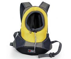 Yihya Portatile Pet Carrier Bag Sacchetto di Spalle Mesh Bag Piccoli Cane Cani Gatti Puppy All'aperto Viaggiare Borsa Backpack per Pet testa Out - Giallo / Size M: 40*35*17