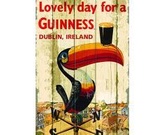 Guinness Nostalgie Cartolina Toucan su segnavento con pinta.