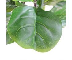 Leaf Pianta Artificiale di fico con Design a Foglia, Vaso in plastica Nera, 120 cm