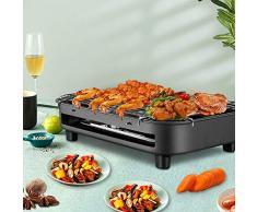Kacsoo Barbecue Elettrico BBQ Grill 220V 1300W Barbecue elettrico per giardino o balcone con telaio coibentato e coppa olio raccogli calore, Nero,15.35 * 9.49 Inch