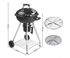 SONGMICS GBQ18BKV1 - Barbecue a Sfera con Coperchio e termometro, Barbecue a carbonella a 4 Gambe, con Ruote, griglia Smaltata Ø 44 cm, griglia di appoggio richiudibile, con Manico, Colore: Nero