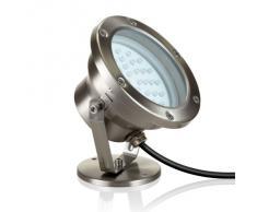 Faretto LED da Parlat (40 Luci LEDs bianco caldo, acciaio inox, ruotabile e orientabile, per uso esterno, 2 Watt, 230V, confezione da 2)