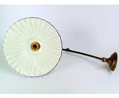 Applique in ottone brunito,appliques con piatto ceramica bordato marrone,lampada da parete per interno a lampioncino al3 Dimensioni max: Sporgenza 54,5cm,diametro piatto 29cm,diametro base 9,5cm. Le dimensioni sono comprensive