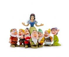 LBYLYH Ornamenti Decorazione per la Casa Carino 7 Nani Biancaneve Principessa Miniatura Statuetta Regalo Bambini Resina Artigianato Ornamento Giardino Fata