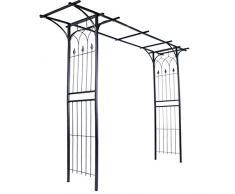 Arco per Rose - 151x204x51cm, Acciaio, Nero - Arco Decorativo da Giardino, Supporto per Piante e Fiori Rampicanti, Sostegno per Rose
