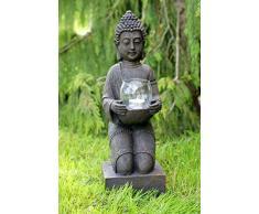 condecoro Statuetta Buddha scultura statuetta da giardino – Statuetta decorativa con portacandela Vintage stile rustico