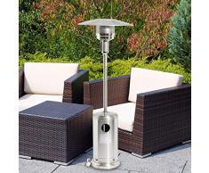 Sohler 2008286 Deluxe portatile da 13000 W in acciaio inox color argento, per esterni, giardino, balcone, barbecue, braciere, griglia, stufa a gas, patio con regolatore a torre da 13 kW, con ruote