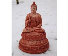 Statua di giardino, piccolo Buddha Chiang Mai, rosso, importato dalla Thailandia (10410)