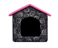 BUDRDA8 grotta cuccia per cane e gatto cani gatto letto cani casa sonno spazio cani cestino cane casa cani rifugio S-XL, nero/rosa, R4 (60 x 55 cm)