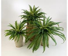 artplants.de Felce di Bosco Decorativa Lean con 76 Lunghe Foglie, Verde, Ø 70cm, 55cm - Felce Artificiale/Pianta Ornamentale