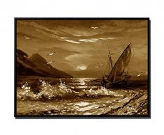 105 x 75 cm mural - colore seppia - su Tela cornice ombra inkusive nero - pittura barca a vela al tramonto