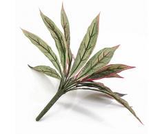 artplants Set 12 x Dracaena Artificiale su Gambo, 18 Foglie, Verde-Rosso, 30 cm - 12 Pezzi di Pianta Tropica Artificiale/Arbusto Decorativo