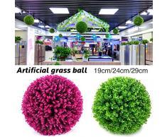 Yunhigh pianta Artificiale Palla bosso Decorativo Simulazione Erba Palla plastica Verde Globo Verde per Centro Commerciale di Shopping Natale Decorazioni per la casa di Natale (2pcs, 29cm)