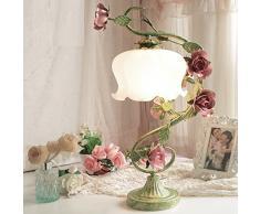 Rose Wedding tavolo camera da letto della lampada lampada da comodino regali di nozze creativo fanno vendemmia vecchio battuto lampada della decorazione da giardino in ferro