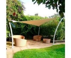Bakaji Tenda A Vela Parasole Triangolare 3,6 Metri Telo Ombreggiante Per Patio Terrazza Giardino Piscina Con Protezione Dai Raggi UV Antistrappo Color Crema + Kit Di Montaggio