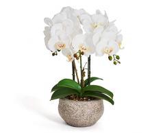 4Ever Green Grande fiore artificiale bianco ecru orchidea Phalaenopsis artificiale artificiale artificiale artificiale fiore artificiale in vaso grigio cemento 42 cm di altezza