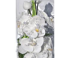 Pure White Fresh Touch con motivo floreale orchidea, artificiale in vaso