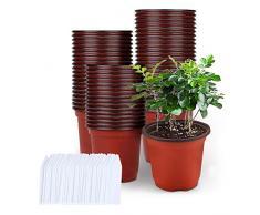 Vasetti per Piantine, Mengxin 50 Pezzi Vasi in Plastica per Piante e 100 Pezzi Etichette Piante Piccoli Vasi Semina Plastica per Piante da Interno e da Esterno (4 pollici)