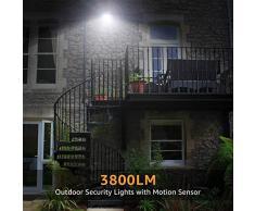 Olafus 2 Pezzi 35W Faretto LED da Esterno con Sensore di Movimento 3800lm 5000K IP66 Impermeabile Faretto con Sensore Luce Bianca Fredda Distanza di Sensore 6m-12m per Corridoio Giardino Garage