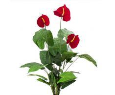 artplants.de Anturio Decorativo con 3 Fiori, 25 Foglie, 80cm - Pianta Tropicale Artificiale/Anturio Finto
