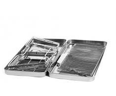 Gizzys/United Entertainment-Barbecue pieghevole in acciaio INOX, colore: argento