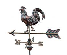 Linneborn - Rubinetto tridimensionale in rame, con supporto universale Segnalatore di direzione del vento, segnavento per tetto.
