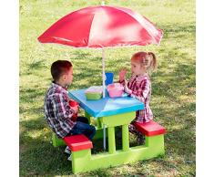 TecTake Set MOBILI da Giardino Tavolo per Bambini con PANCHINE incl. OMBRELLONE