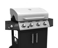 Barbecue BBQ a gas acciaio 4 bruciatori con pietra lavica dispensa ruote G43240
