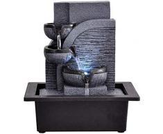 ANXWA Fontana Zen Fontane da Interno per Cascata da Tavolo A 3 Livelli con Luci A LED Relax Zen Meditation Ambient Lenitive Cascading per Soggiorno in Ufficio23 * 17 5 * 25 5 Cm