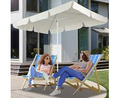 Miadomodo Ombrellone per giardino terrazza balcone rettangolare 1,8 x 1,2 m colore beige
