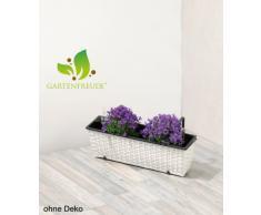 Cassetta da giardino in polyrattan, incl. agganci e sistema per innaffio, bianco, 60 x 19 x 18 cm