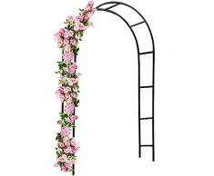 Deuba Arco per rampicanti 240x140x37cm Metallo Arco da Giardino Fiori Rose Piante Decorazione