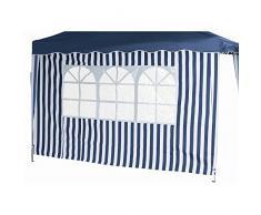 Siena Garden 553903 Set pareti per gazebo pieghevole (1 con finestra e 1 senza finestra), colore: Blu/Bianco