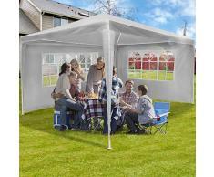 Gazebo da Giardino - 3x4m, 4 Panelli Laterali Rimovibili, Impermeabile, Protezione UV30+, Bianco - Padiglione, Tendone per Feste, Tenda per Esterno
