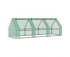 Outsunny - Serra da giardino a tunnel in PE telaio in acciaio 270x90x90cm verde trasparente