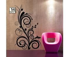 00722 Adesivi murali ''Pianta ornamentale'' - Stickers adesivi - 60x100 cm - Nero - Decorazione parete, adesivi per muro, carta da parati