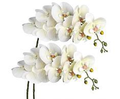 Breve orchidea artificiale con 9 steli di orchidea Phalaenopsis vero tocco Phalaenopsis orchidea spray fiore artificiale per la casa di nozze decorazione 2 pezzi