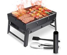 WOSTOO Barbecue Griglia a Carbone, Barbecue Portatile a Carbone Utensile BBQ Grill Barbecue Carbone Pieghevole per Picnic in Balcone e Giardino,Picnic allaperto,Campeggio ECC(Nero)
