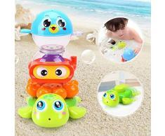 Goodtimera - Giocattolo da Bagno con spruzzo per l'octopo, Bambola da Bagno, con Fontana a zampillo, Vasca da Bagno e Piscina